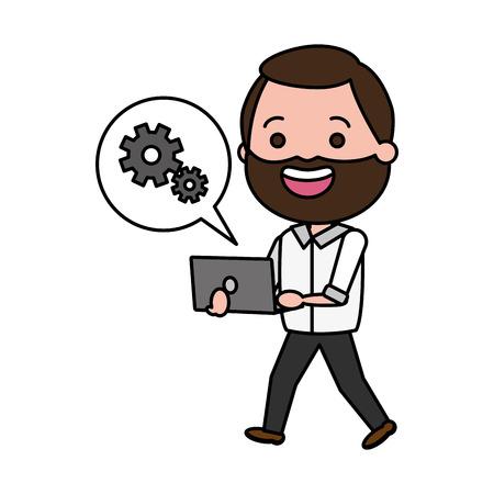 Illustration pour beard man using laptop tech device vector illustration - image libre de droit