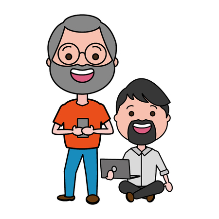 Ilustración de two men with laptop cellphone tech vector illustration - Imagen libre de derechos