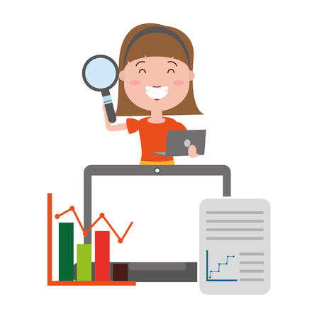 Illustration pour woman with laptop magnifying glass information big data vector illustration - image libre de droit