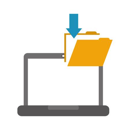 Illustration pour laptop folder file download data - image libre de droit