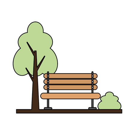 Ilustración de wooden bench tree bush park vector illustration - Imagen libre de derechos