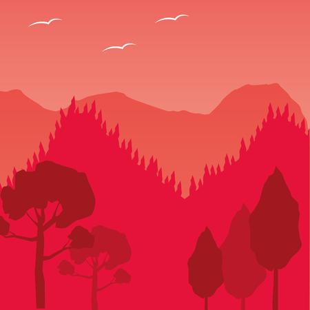Illustration for mountains trees forest wanderlust landscape vector illustration - Royalty Free Image