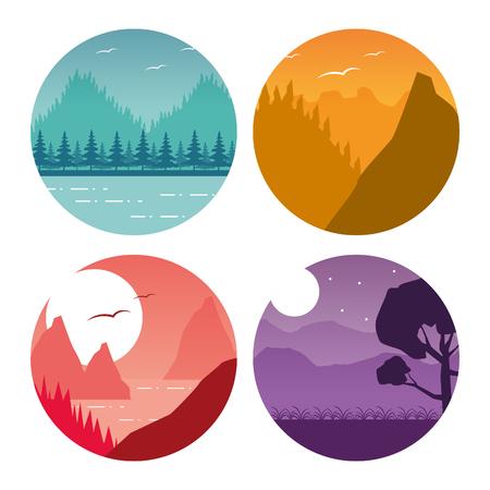 Illustration for forest mountain nature wanderlust landscape set vector illustration - Royalty Free Image