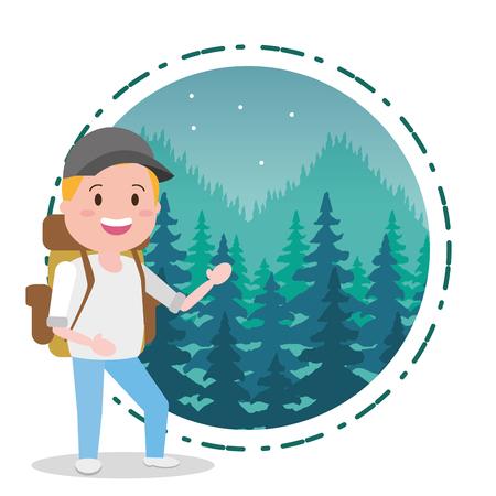Ilustración de man travel adventure background landscape - wanderlust vector illustration - Imagen libre de derechos