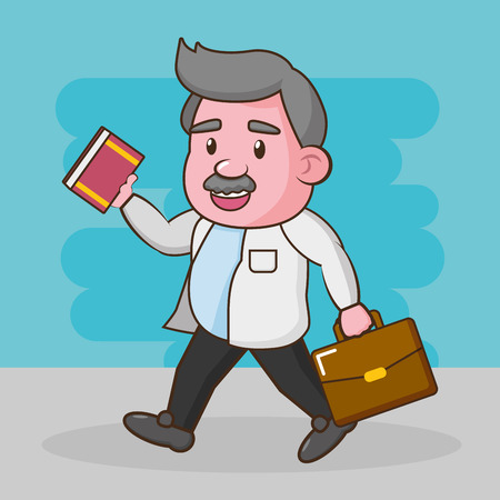Illustration for scientific professor with book and suitcase vector illustration - Royalty Free Image