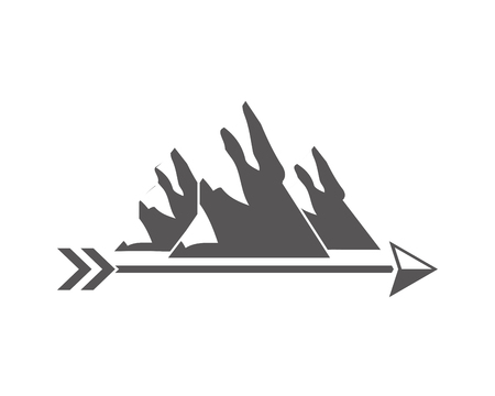 Illustration for mountains arrow wanderlust vintage design vector illustration - Royalty Free Image