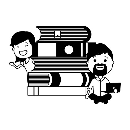 Ilustración de man and girl with laptop books tech device vector illustration - Imagen libre de derechos