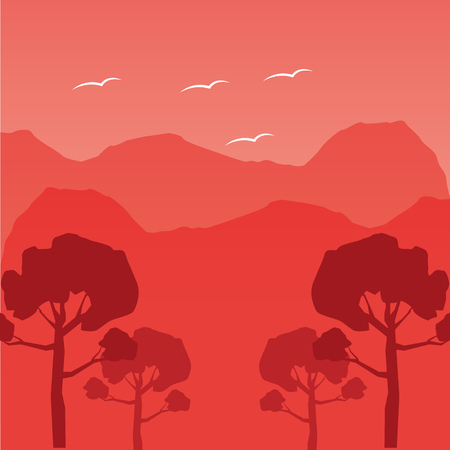 Illustration for mountains trees forest wanderlust landscape vector illustration - Royalty Free Image