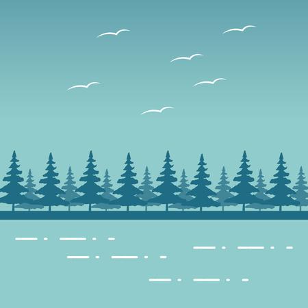 Illustration for mountains forest birds lake wanderlust landscape vector illustration - Royalty Free Image