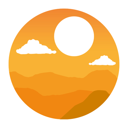 Illustration for mountains sky clouds wanderlust landscape vector illustration - Royalty Free Image