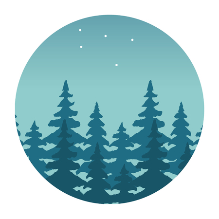 Illustration for mountains forest stars wanderlust landscape vector illustration - Royalty Free Image