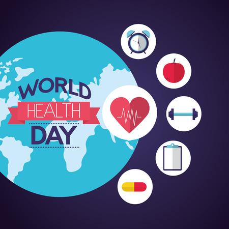 Illustration pour world health day healthy lifestyle vector illustration - image libre de droit