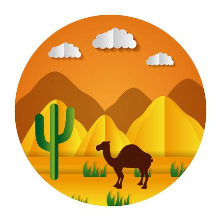 Illustration for desert camel cactus paper origami landscape vector illustration - Royalty Free Image
