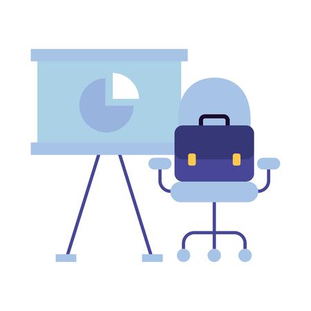 Ilustración de office board presentation chair bag vector illustration - Imagen libre de derechos