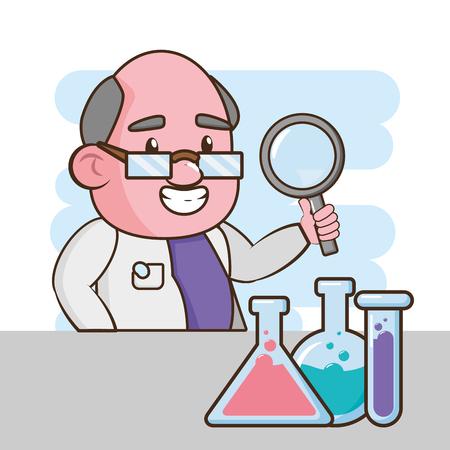 Ilustración de scientific magnifying glass test tubes laboratory science vector illustration - Imagen libre de derechos
