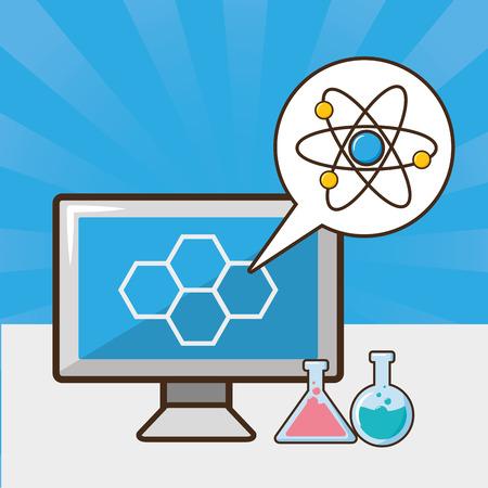 Illustration pour computer atom molecule test tube laboratory tool science vector illustration - image libre de droit