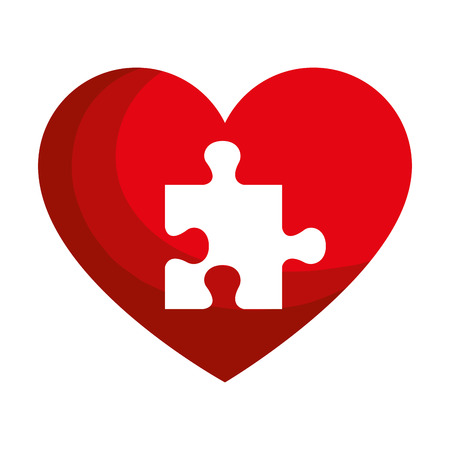 Illustration for heart with puzzle pieces vector illustration design - Royalty Free Image