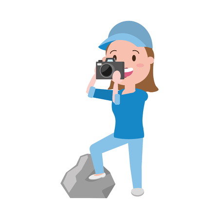 Illustration pour woman tourist taking photo with camera vector illustration - image libre de droit