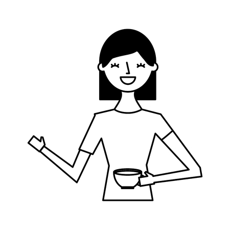Illustration for happy woman holding cup coffee vector illustration - Royalty Free Image