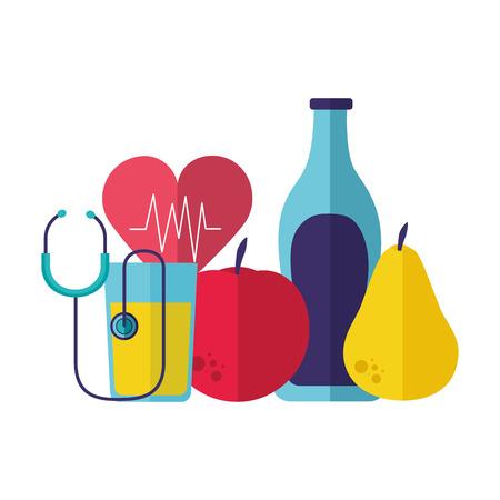 Ilustración de fruits water heart stethoscope health vector illustration - Imagen libre de derechos