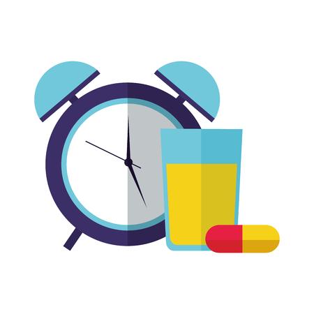 Ilustración de orange juice capsules clock health vector illustration vector illustration - Imagen libre de derechos