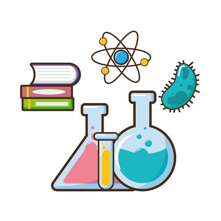 Illustration pour book molecule bacteria test tubes science vector illustration - image libre de droit