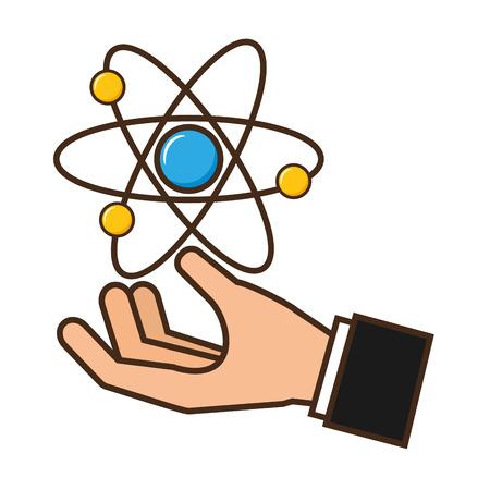 Illustration pour hand holding molecule atom science vector illustration - image libre de droit