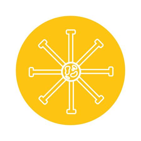 Illustration pour science bateria cell on yellow background  vector illustration - image libre de droit