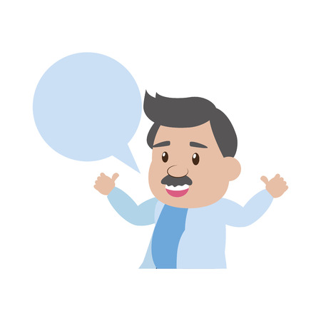Illustration pour scientific professor character speech bubble vector illustration - image libre de droit