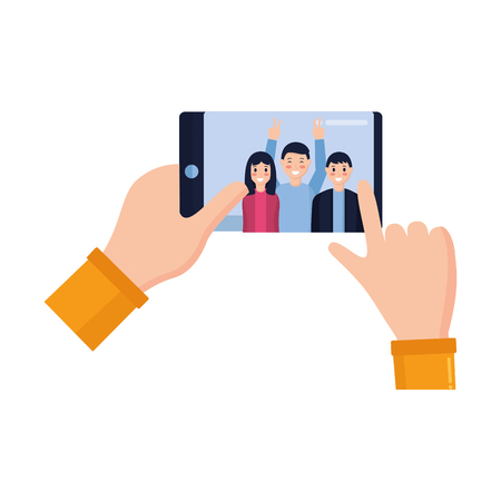 Illustration for smiling people taking selfie with cellphone vector illustration - Royalty Free Image