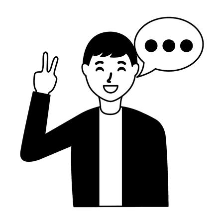 Illustration pour man peace love gesture speech bubble vector illustration - image libre de droit