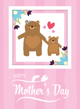 Illustration pour mom bear and son flowers happy mothers day vector illustration - image libre de droit