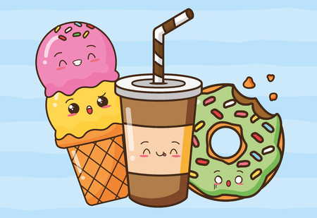Illustration pour donut soda ice cream fast food vector illustration - image libre de droit