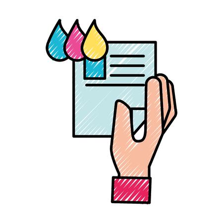 Ilustración de hand holding paper color tone design vector illustration - Imagen libre de derechos