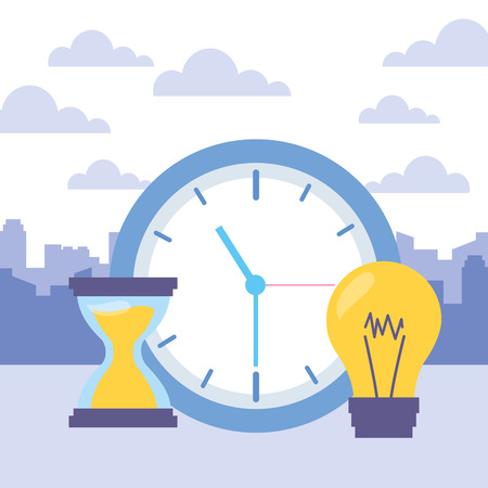 Illustration pour clock time hourglass bulb icons vector illustration - image libre de droit