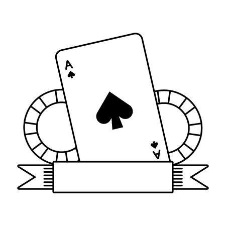 Ilustración de casino bet cards and chips on white background vector illustration - Imagen libre de derechos