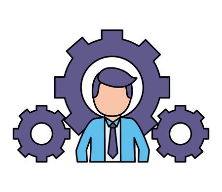 Ilustración de buiness man settings gears work vector illustration vector illustration - Imagen libre de derechos