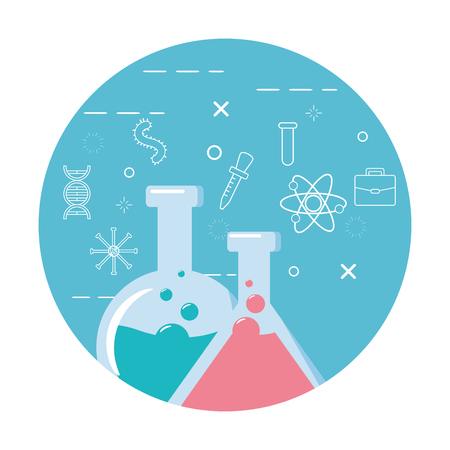 Illustration for science test tubes chemistry background vector illustration - Royalty Free Image