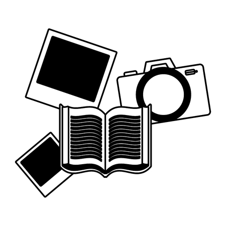 Ilustración de book camera photos on white background vector illustration - Imagen libre de derechos