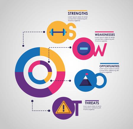 Ilustración de swot infographic analysis, colors graphic stats vector illustration - Imagen libre de derechos
