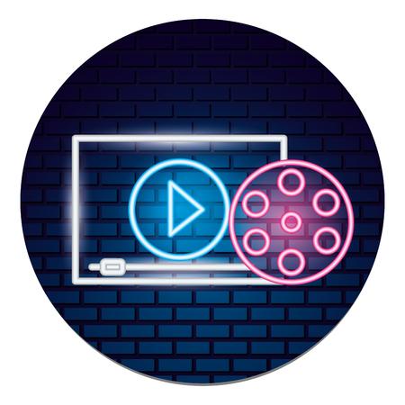 Ilustración de cinema reel film movie time neon vector illustration vector illustration - Imagen libre de derechos