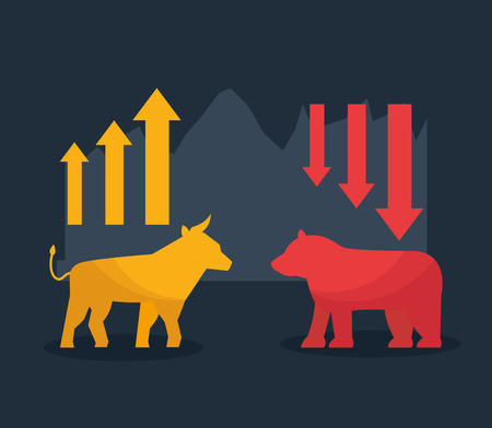Illustration for bull bear upward and downward trend stock market vector illustration - Royalty Free Image