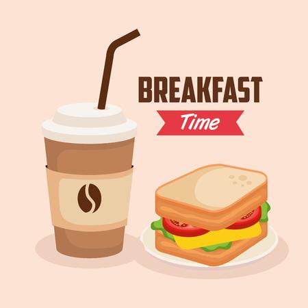 Ilustración de delicious sandwich with coffee plastic cup vector illustration - Imagen libre de derechos
