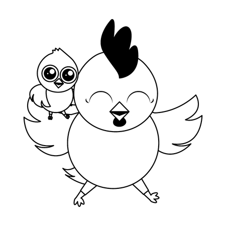 Illustration pour cute hen and chick cartoon vector illustration - image libre de droit