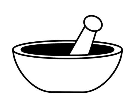 Ilustración de mortar and pestle icon on white background vector illustration design - Imagen libre de derechos