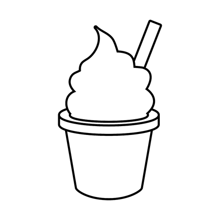 Illustration pour ice cream in cup fast food white background vector illustration - image libre de droit