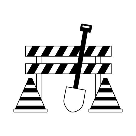 Ilustración de construction equipment shovel barrier cone icons vector illustration - Imagen libre de derechos