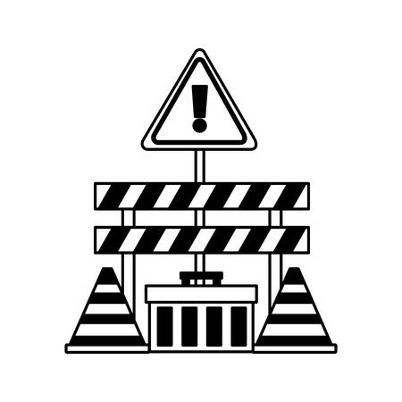 Illustration pour construction equipment barrier cone toolbox vector illustration - image libre de droit