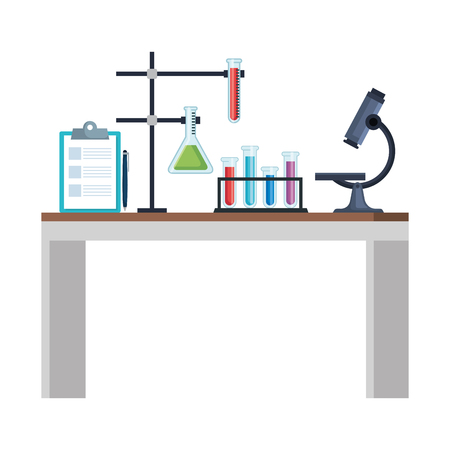 Illustration pour laboratory desk workplace icons vector illustration design - image libre de droit