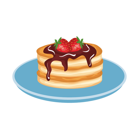 Illustration for pancakes with chocolate cream and strawberries vector illustration design - Royalty Free Image